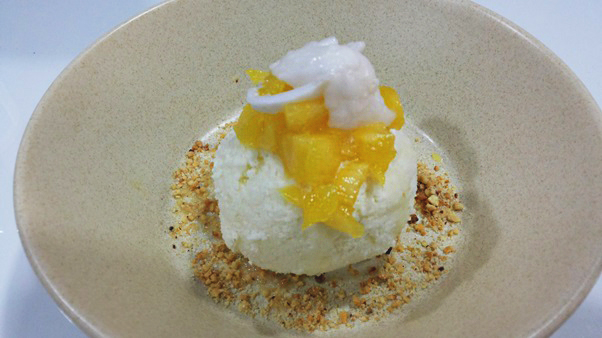 Coconut Ice Cream with Shredded Coconut and Pineapple