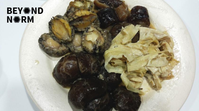 abaline, foo choke, sea cucumber and mushrooms
