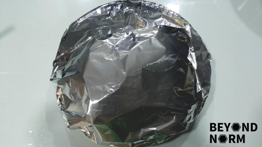 12 Wrap the baking tray with aluminium foil