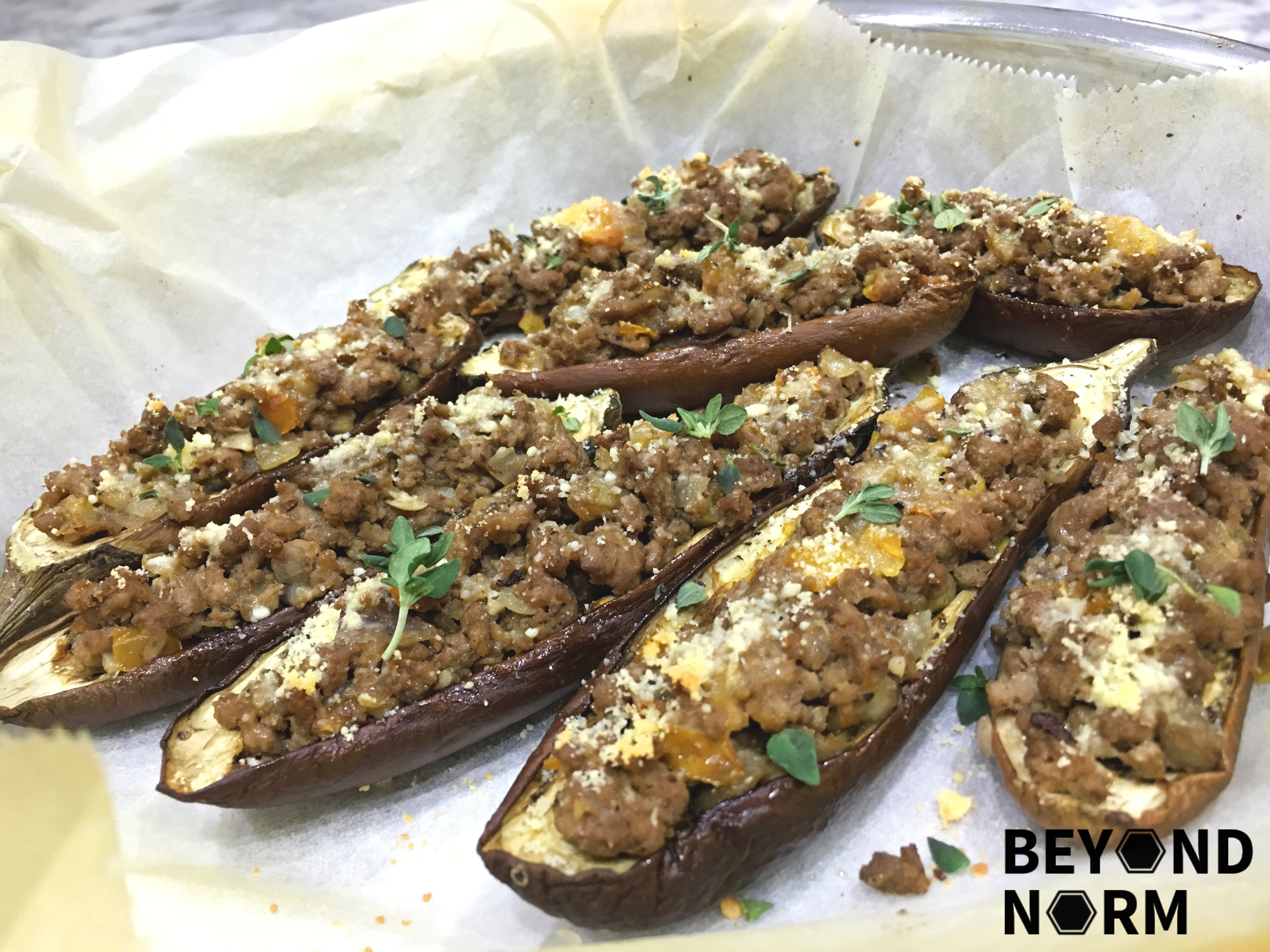 Stuffed Aubergines with Spiced Minced Meat